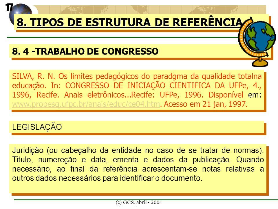 (c) GCS, abril - 2001 8. TIPOS DE ESTRUTURA DE REFERÊNCIA 8. 4 -TRABALHO DE CONGRESSO SILVA, R. N. Os limites pedagógicos do paradgma da qualidade tot
