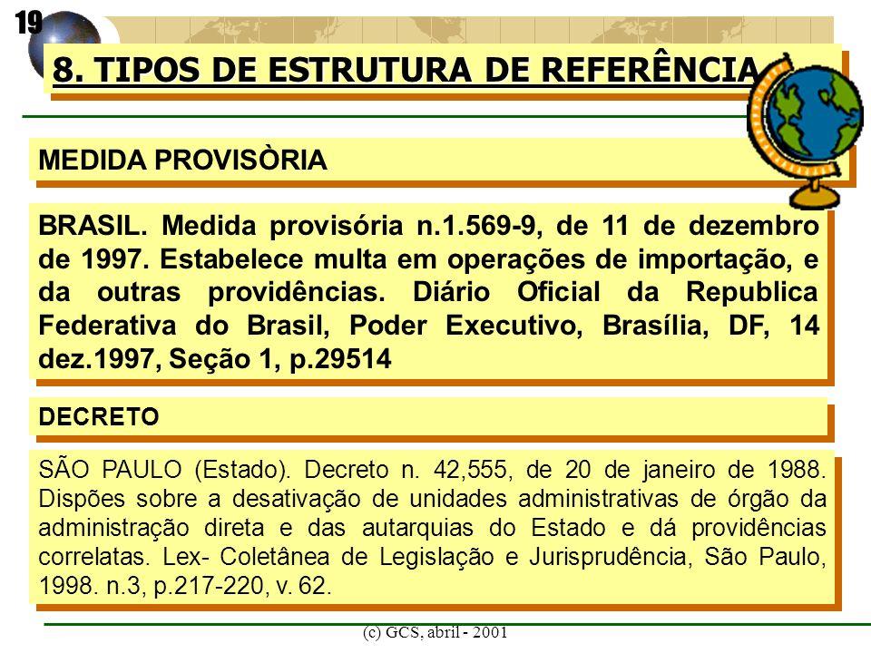 (c) GCS, abril - 2001 8. TIPOS DE ESTRUTURA DE REFERÊNCIA MEDIDA PROVISÒRIA BRASIL. Medida provisória n.1.569-9, de 11 de dezembro de 1997. Estabelece