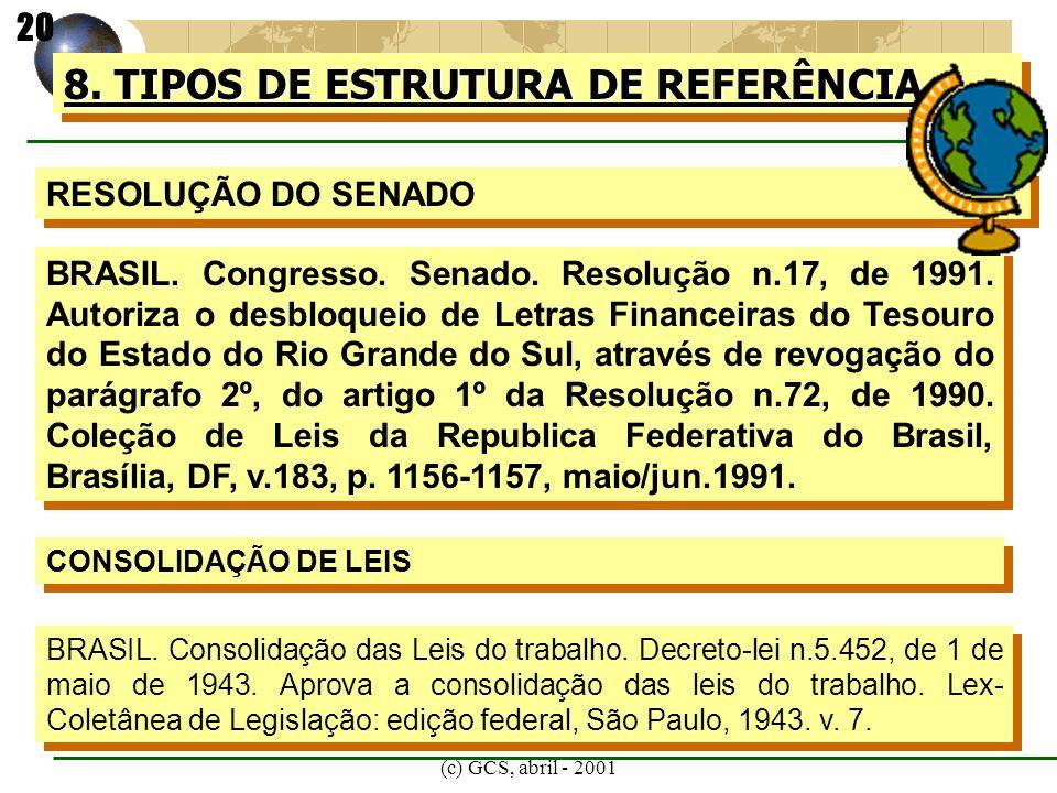 (c) GCS, abril - 2001 8. TIPOS DE ESTRUTURA DE REFERÊNCIA RESOLUÇÃO DO SENADO BRASIL. Congresso. Senado. Resolução n.17, de 1991. Autoriza o desbloque