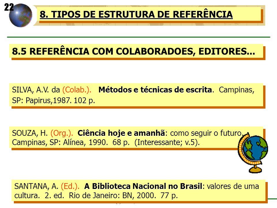 (c) GCS, abril - 2001 8. TIPOS DE ESTRUTURA DE REFERÊNCIA 8.5 REFERÊNCIA COM COLABORADOES, EDITORES... Métodos e técnicas de escrita SILVA, A.V. da (C