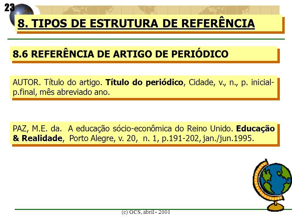 (c) GCS, abril - 2001 8. TIPOS DE ESTRUTURA DE REFERÊNCIA 8.6 REFERÊNCIA DE ARTIGO DE PERIÓDICO AUTOR. Título do artigo. Título do periódico, Cidade,