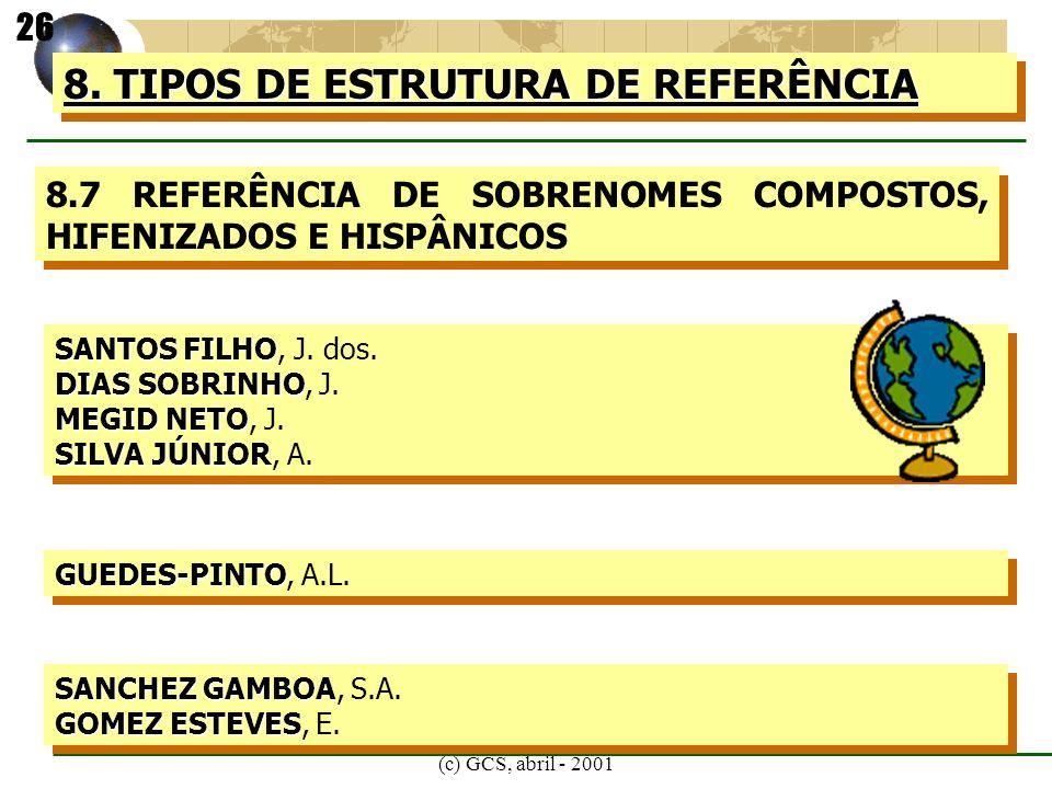 (c) GCS, abril - 2001 8. TIPOS DE ESTRUTURA DE REFERÊNCIA 8.7 REFERÊNCIA DE SOBRENOMES COMPOSTOS, HIFENIZADOS E HISPÂNICOS SANTOS FILHO SANTOS FILHO,