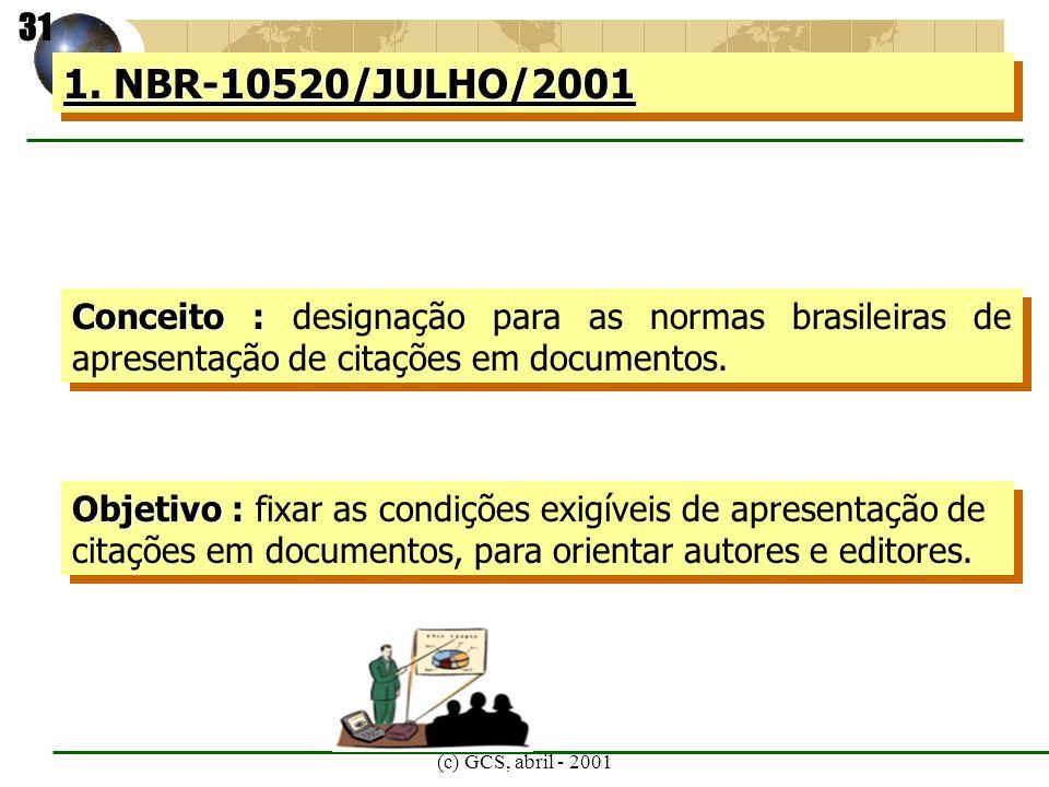 (c) GCS, abril - 2001 1. NBR-10520/JULHO/2001 Conceito : Conceito : designação para as normas brasileiras de apresentação de citações em documentos. O