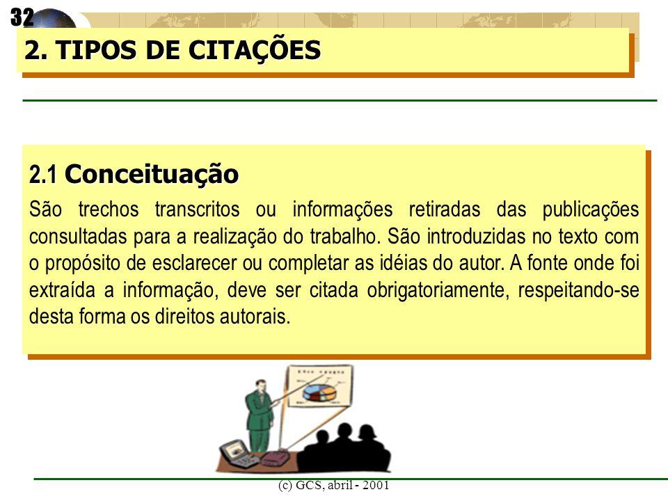 (c) GCS, abril - 2001 2.1 Conceituação São trechos transcritos ou informações retiradas das publicações consultadas para a realização do trabalho. São