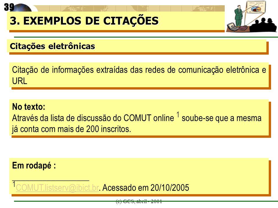 (c) GCS, abril - 2001 Citações eletrônicas 3. EXEMPLOS DE CITAÇÕES Citação de informações extraídas das redes de comunicação eletrônica e URL No texto