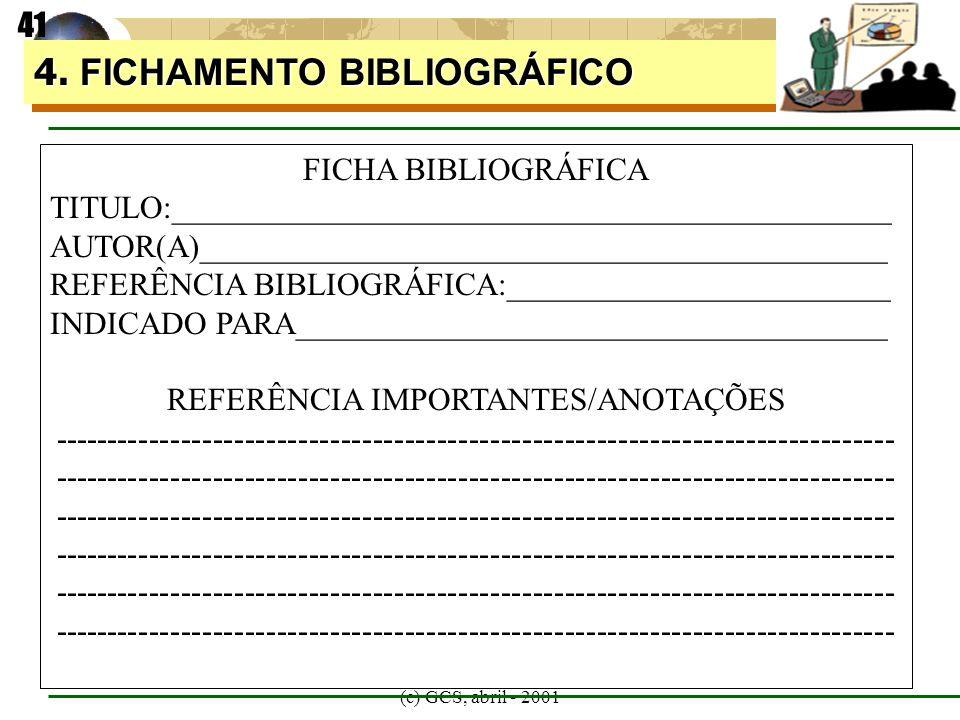 (c) GCS, abril - 2001 4. FICHAMENTO BIBLIOGRÁFICO 41 FICHA BIBLIOGRÁFICA TITULO:_____________________________________________ AUTOR(A)________________