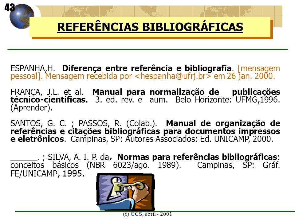 (c) GCS, abril - 2001 ESPANHA,H. Diferença entre referência e bibliografia. [mensagem pessoal]. Mensagem recebida por em 26 jan. 2000. FRANÇA, J.L. et