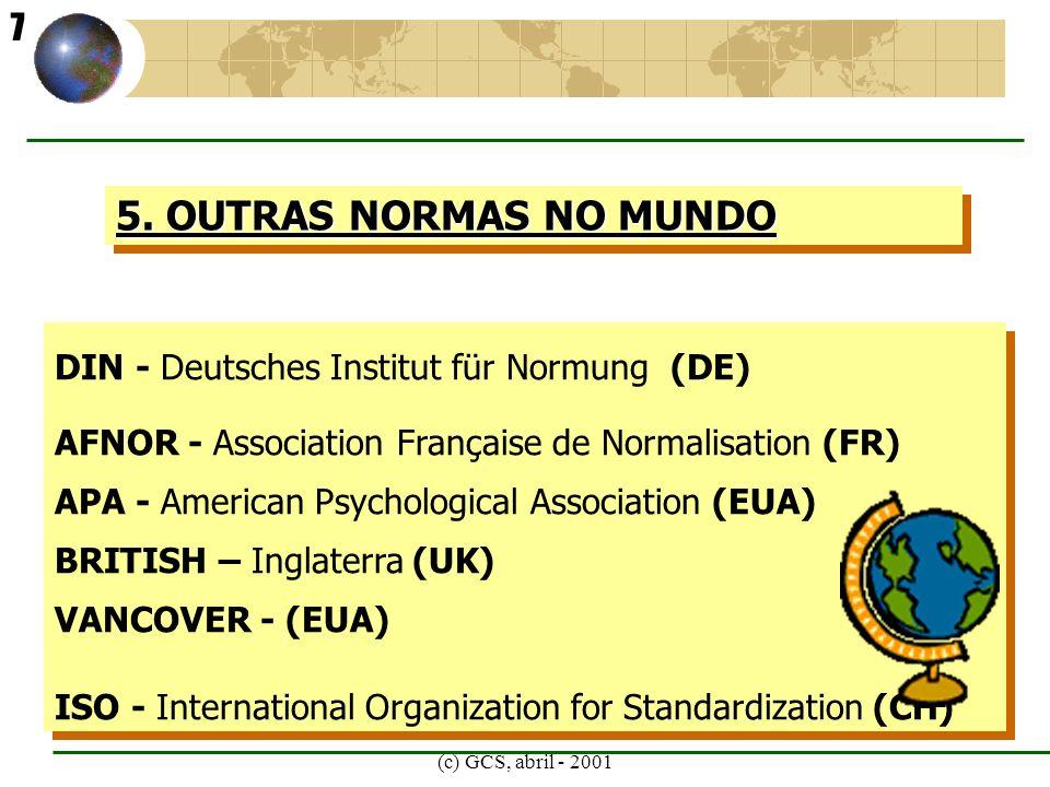 (c) GCS, abril - 2001 6.ONDE BUSCAR AS FONTES PARA ELABORAR A REFERÊNCIA CORRETA.
