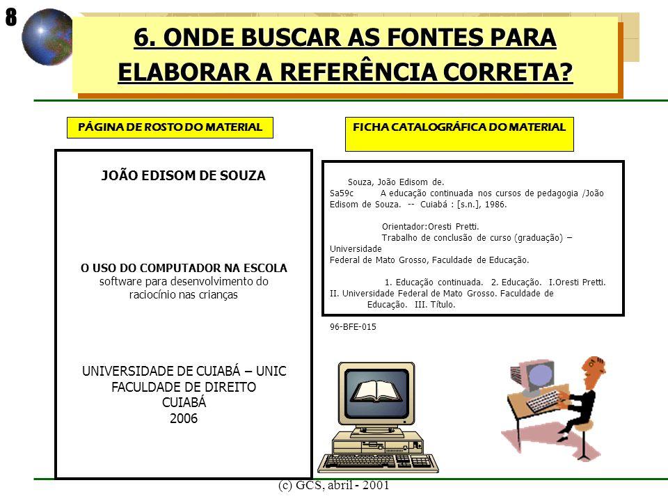 (c) GCS, abril - 2001 8.TIPOS DE ESTRUTURA DE REFERÊNCIA MEDIDA PROVISÒRIA BRASIL.