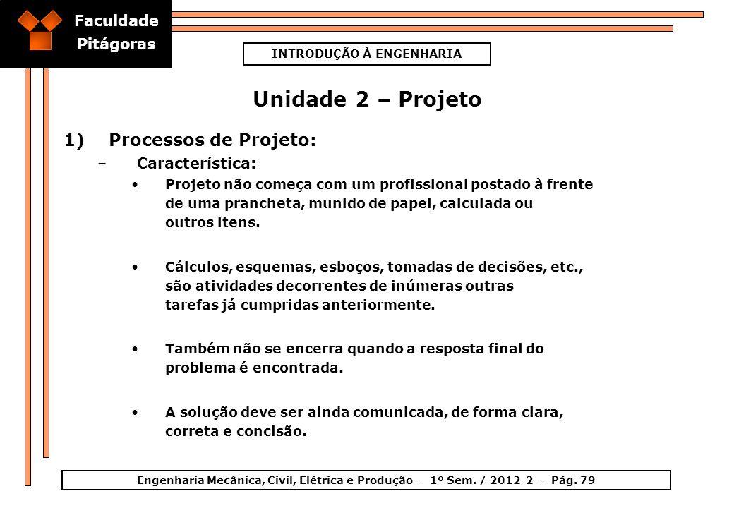 Faculdade Pitágoras INTRODUÇÃO À ENGENHARIA Engenharia Mecânica, Civil, Elétrica e Produção – 1º Sem. / 2012-2 - Pág. 79 Unidade 2 – Projeto 1)Process
