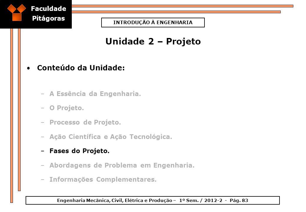 Faculdade Pitágoras INTRODUÇÃO À ENGENHARIA Engenharia Mecânica, Civil, Elétrica e Produção – 1º Sem. / 2012-2 - Pág. 83 Unidade 2 – Projeto Conteúdo