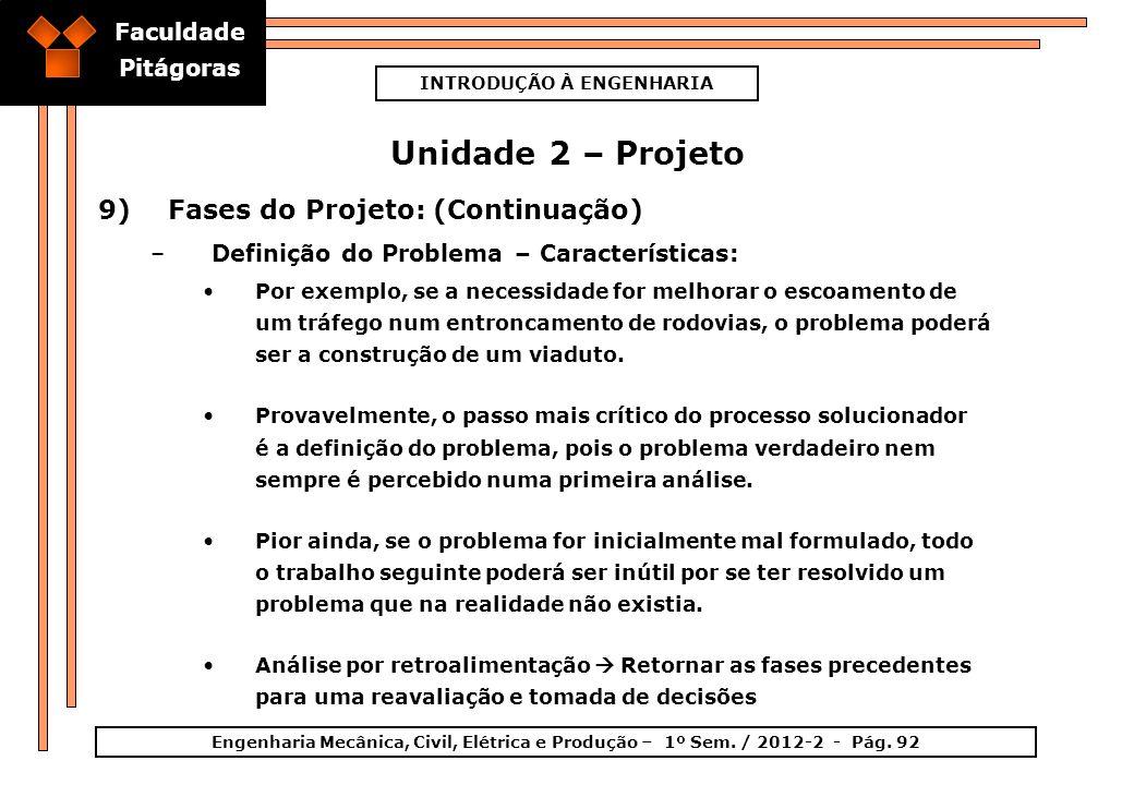 Faculdade Pitágoras INTRODUÇÃO À ENGENHARIA Engenharia Mecânica, Civil, Elétrica e Produção – 1º Sem. / 2012-2 - Pág. 92 Unidade 2 – Projeto 9)Fases d