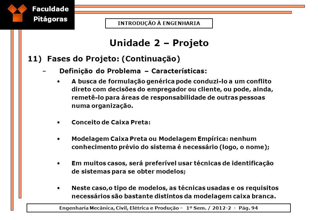 Faculdade Pitágoras INTRODUÇÃO À ENGENHARIA Engenharia Mecânica, Civil, Elétrica e Produção – 1º Sem. / 2012-2 - Pág. 94 Unidade 2 – Projeto 11)Fases