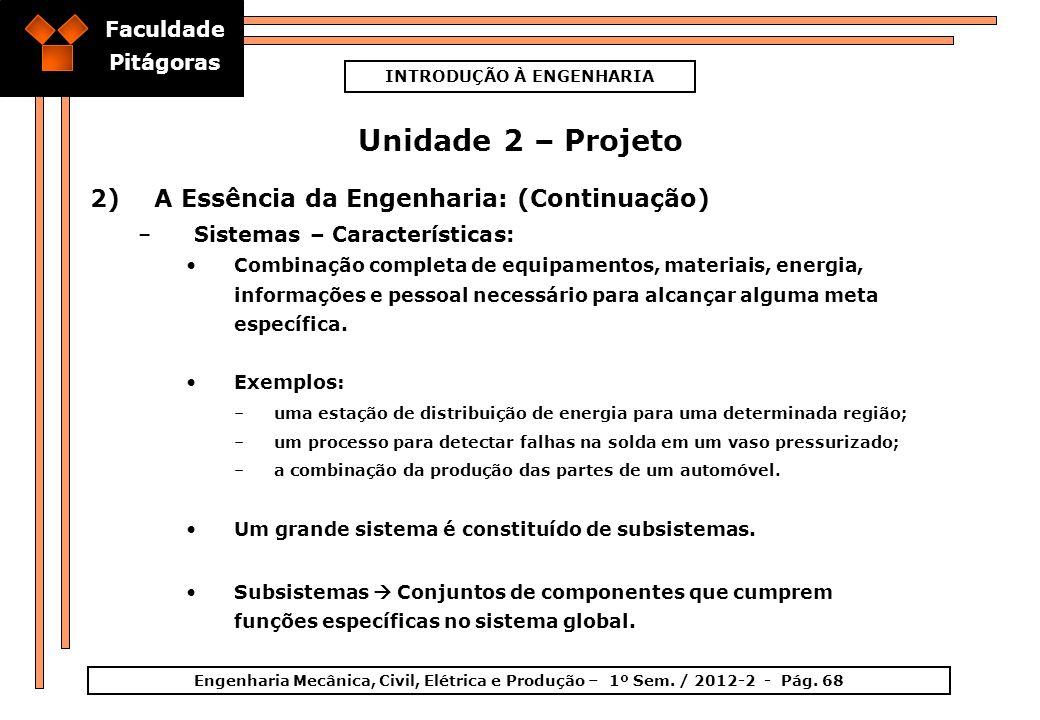 Faculdade Pitágoras INTRODUÇÃO À ENGENHARIA Engenharia Mecânica, Civil, Elétrica e Produção – 1º Sem. / 2012-2 - Pág. 68 Unidade 2 – Projeto 2)A Essên