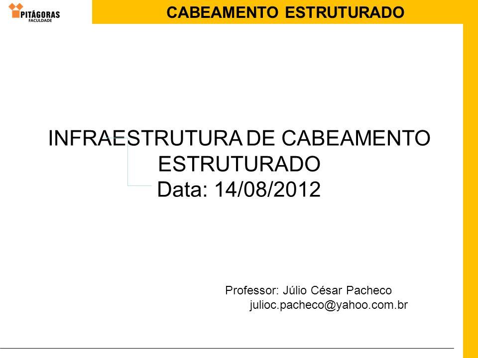 CABEAMENTO ESTRUTURADO INFRAESTRUTURA DE CABEAMENTO ESTRUTURADO Data: 14/08/2012 Professor: Júlio César Pacheco julioc.pacheco@yahoo.com.br