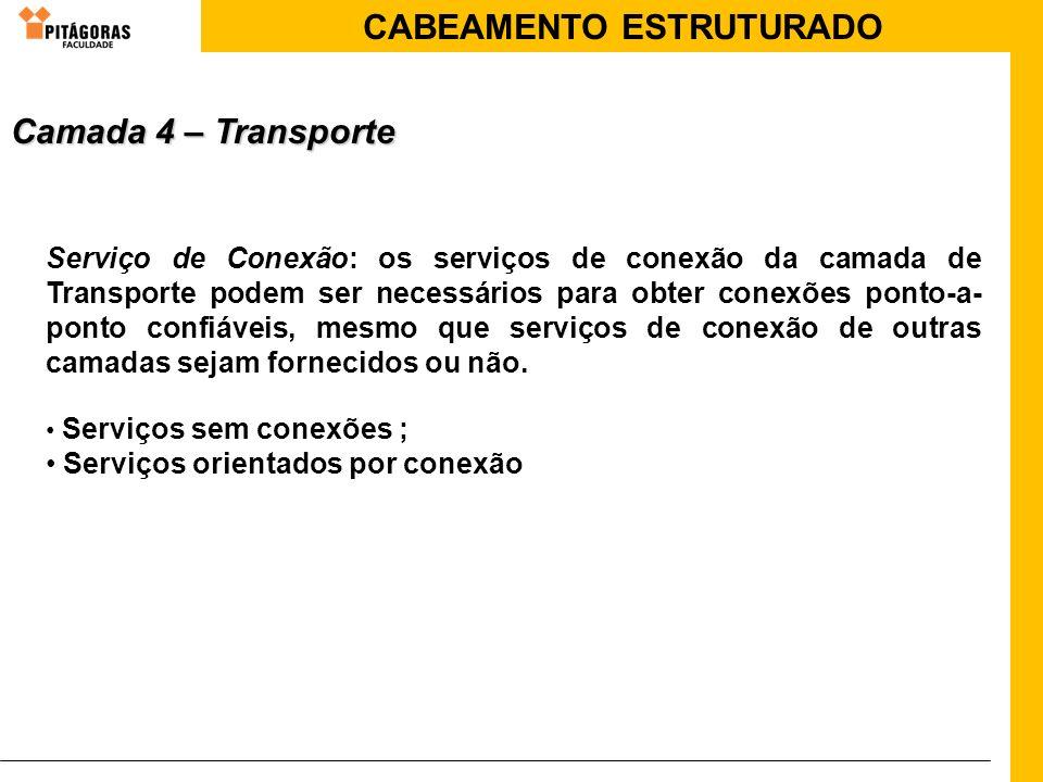 CABEAMENTO ESTRUTURADO Serviço de Conexão: os serviços de conexão da camada de Transporte podem ser necessários para obter conexões ponto-a- ponto con