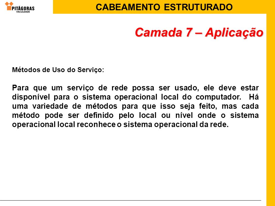 CABEAMENTO ESTRUTURADO Métodos de Uso do Serviço: Para que um serviço de rede possa ser usado, ele deve estar disponível para o sistema operacional lo