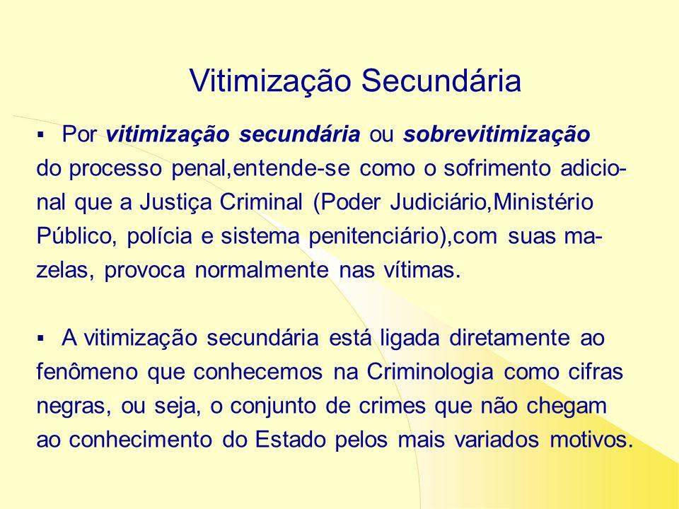 Por vitimização secundária ou sobrevitimização do processo penal,entende-se como o sofrimento adicio- nal que a Justiça Criminal (Poder Judiciário,Min