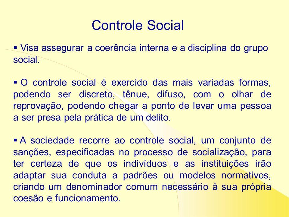 Visa assegurar a coerência interna e a disciplina do grupo social. O controle social é exercido das mais variadas formas, podendo ser discreto, tênue,