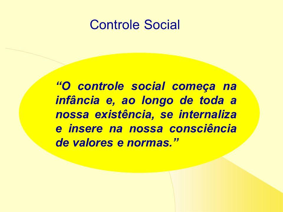 Controle Social O controle social começa na infância e, ao longo de toda a nossa existência, se internaliza e insere na nossa consciência de valores e