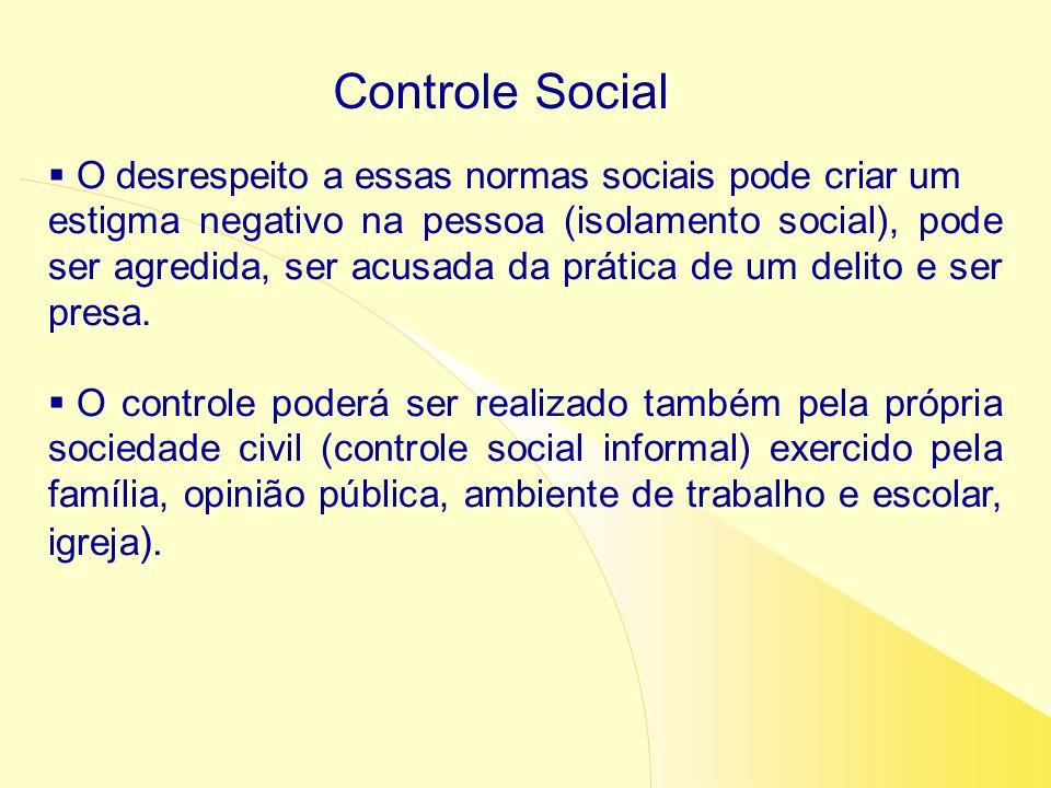Controle Social O desrespeito a essas normas sociais pode criar um estigma negativo na pessoa (isolamento social), pode ser agredida, ser acusada da p