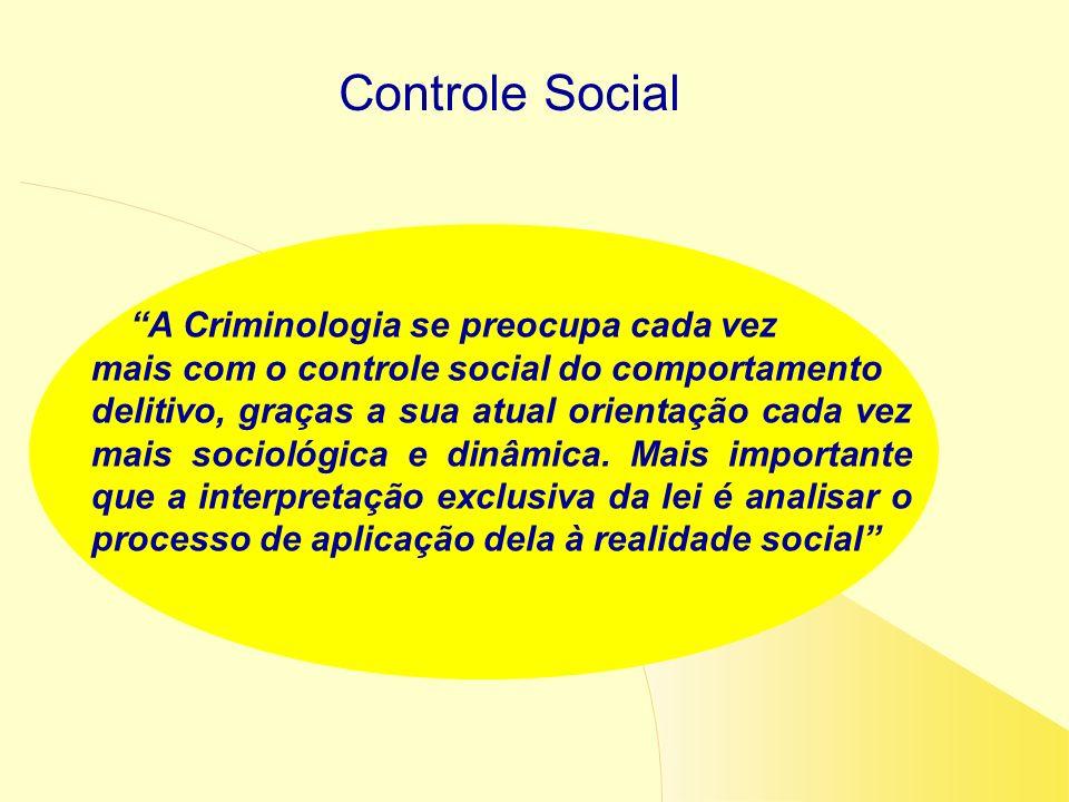 Controle Social A Criminologia se preocupa cada vez mais com o controle social do comportamento delitivo, graças a sua atual orientação cada vez mais