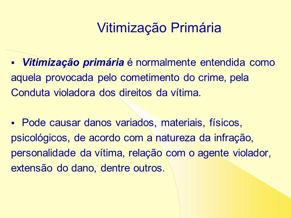 Vitimização primária é normalmente entendida como aquela provocada pelo cometimento do crime, pela Conduta violadora dos direitos da vítima. Pode caus