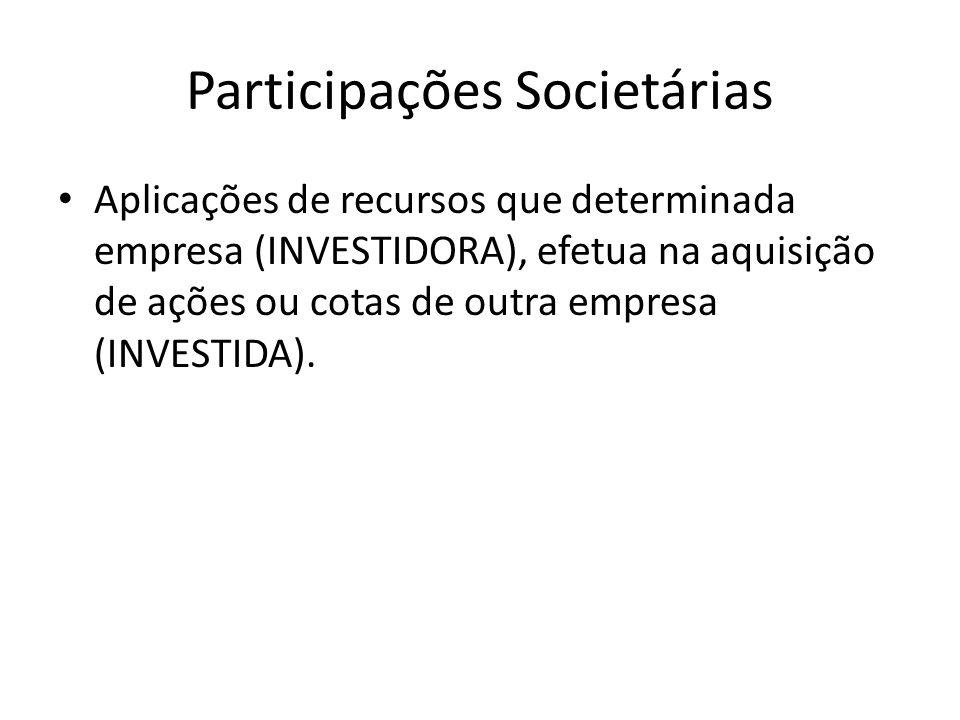 Participações Societárias Aplicações de recursos que determinada empresa (INVESTIDORA), efetua na aquisição de ações ou cotas de outra empresa (INVEST