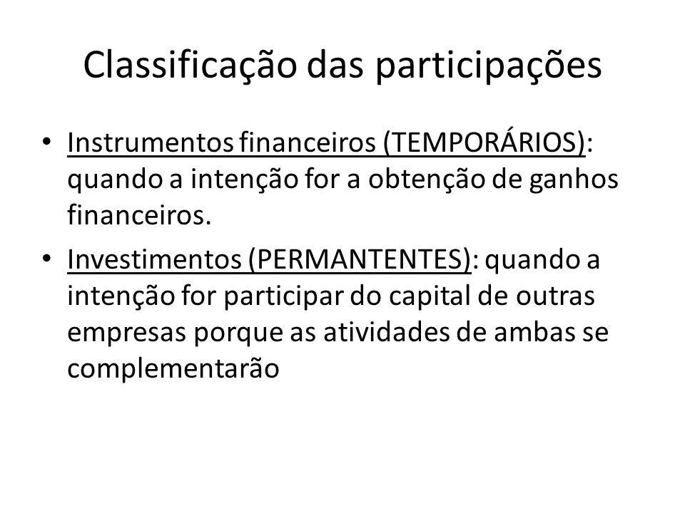 Classificação das participações Instrumentos financeiros (TEMPORÁRIOS): quando a intenção for a obtenção de ganhos financeiros. Investimentos (PERMANT
