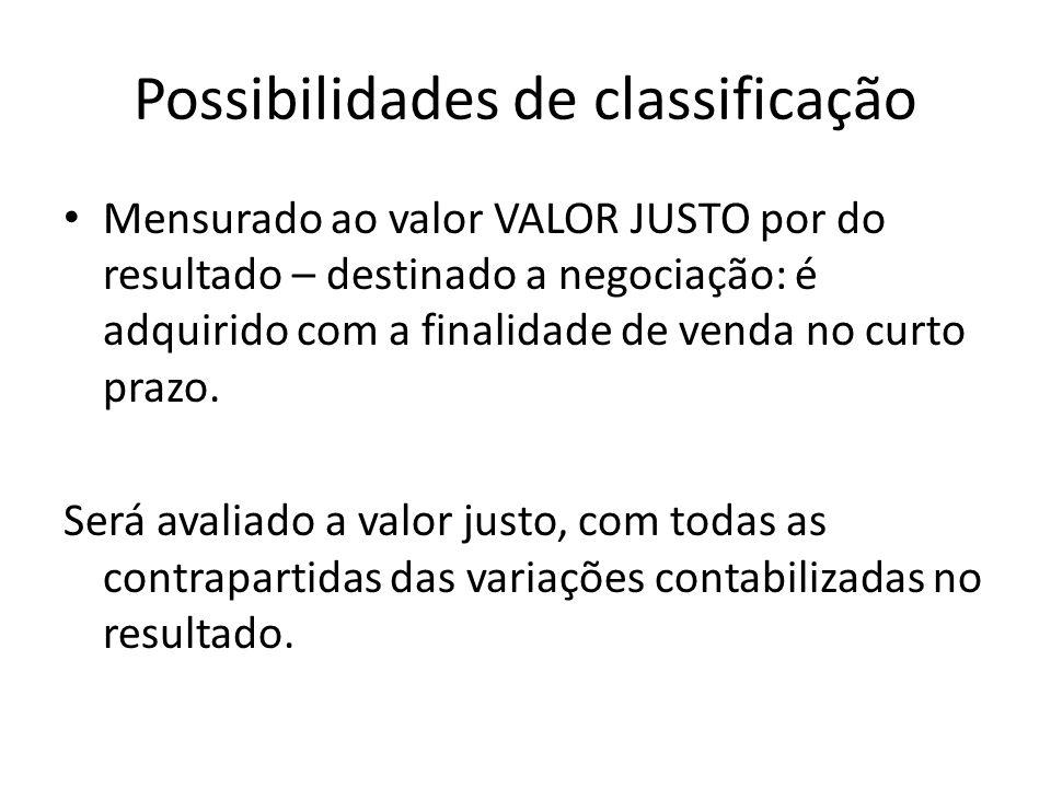Possibilidades de classificação Mensurado ao valor VALOR JUSTO por do resultado – destinado a negociação: é adquirido com a finalidade de venda no cur