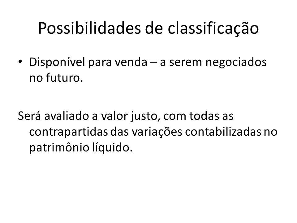 Possibilidades de classificação Disponível para venda – a serem negociados no futuro. Será avaliado a valor justo, com todas as contrapartidas das var