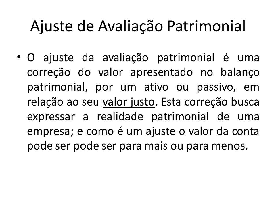 Ajuste de Avaliação Patrimonial O ajuste da avaliação patrimonial é uma correção do valor apresentado no balanço patrimonial, por um ativo ou passivo,