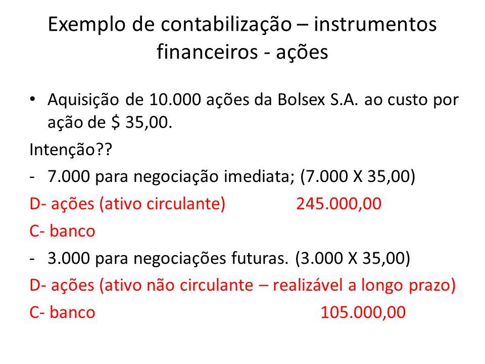 Exemplo de contabilização – instrumentos financeiros - ações Aquisição de 10.000 ações da Bolsex S.A. ao custo por ação de $ 35,00. Intenção?? -7.000