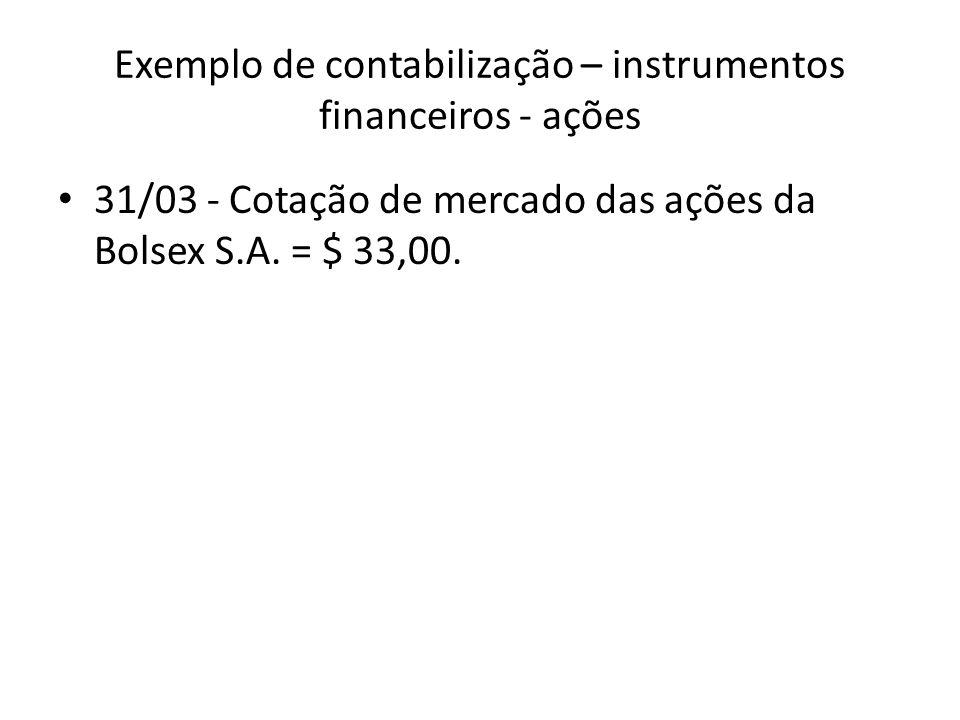 Exemplo de contabilização – instrumentos financeiros - ações 31/03 - Cotação de mercado das ações da Bolsex S.A. = $ 33,00.