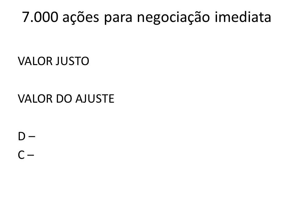 7.000 ações para negociação imediata VALOR JUSTO VALOR DO AJUSTE D – C –