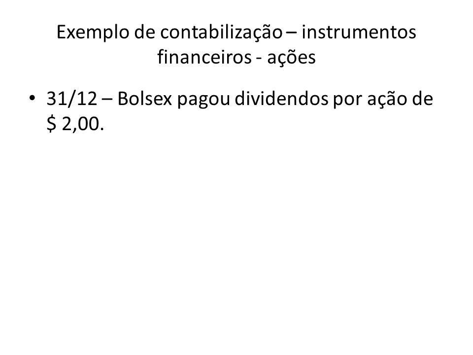 Exemplo de contabilização – instrumentos financeiros - ações 31/12 – Bolsex pagou dividendos por ação de $ 2,00.