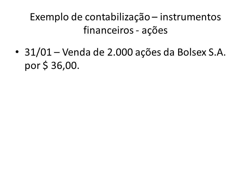 Exemplo de contabilização – instrumentos financeiros - ações 31/01 – Venda de 2.000 ações da Bolsex S.A. por $ 36,00.