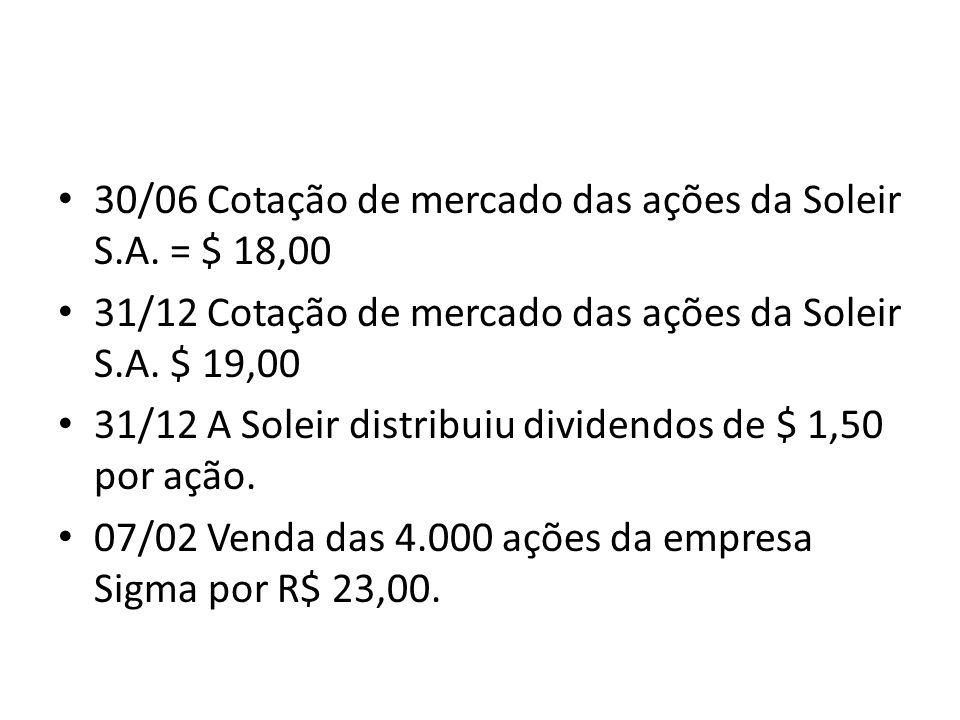 30/06 Cotação de mercado das ações da Soleir S.A. = $ 18,00 31/12 Cotação de mercado das ações da Soleir S.A. $ 19,00 31/12 A Soleir distribuiu divide
