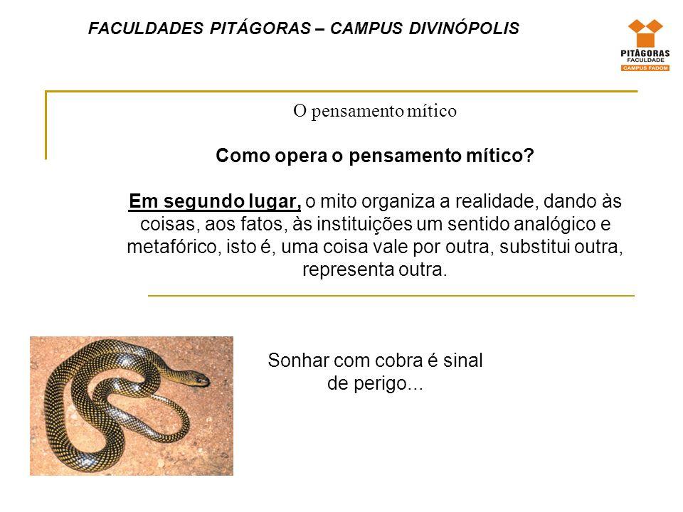 FACULDADES PITÁGORAS – CAMPUS DIVINÓPOLIS O pensamento mítico Como opera o pensamento mítico.