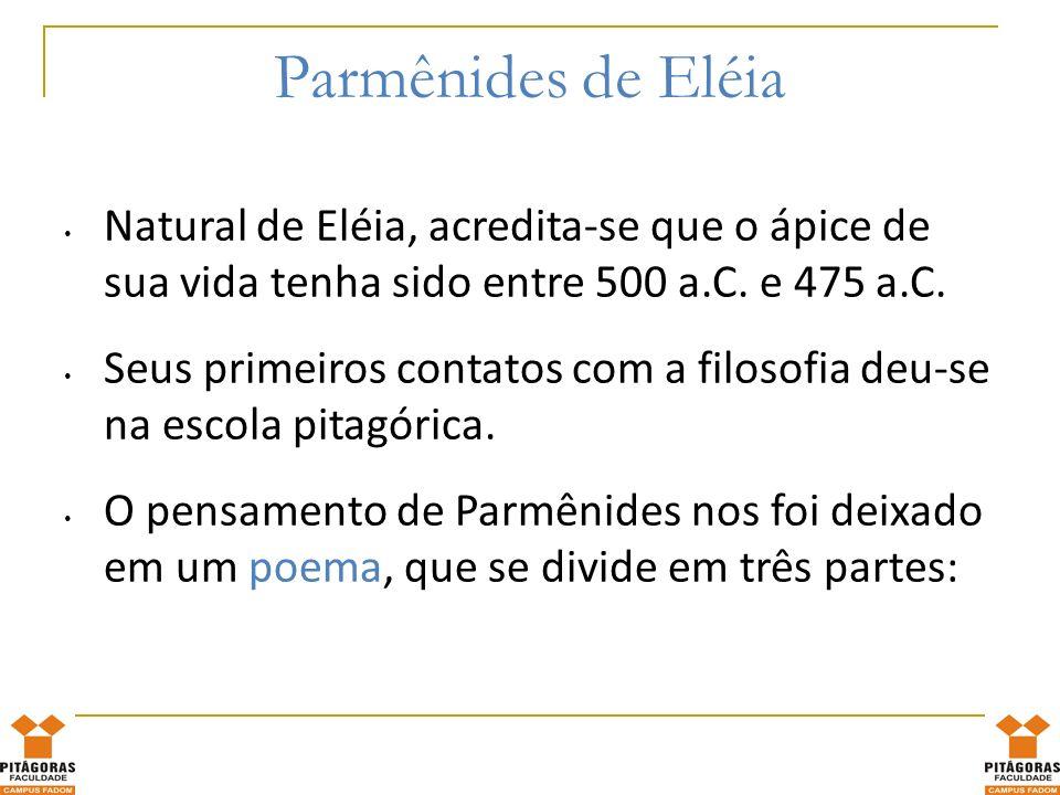 O poema de Parmênides 1.Prólogo: ele é conduzido até a deusa, que lhe promete revelar a verdade.