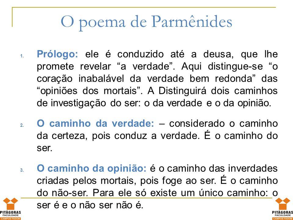 O grande princípio da verdade de Parmênides é: o ser é e não pode não ser; o não ser não é e não pode ser de modo algum.