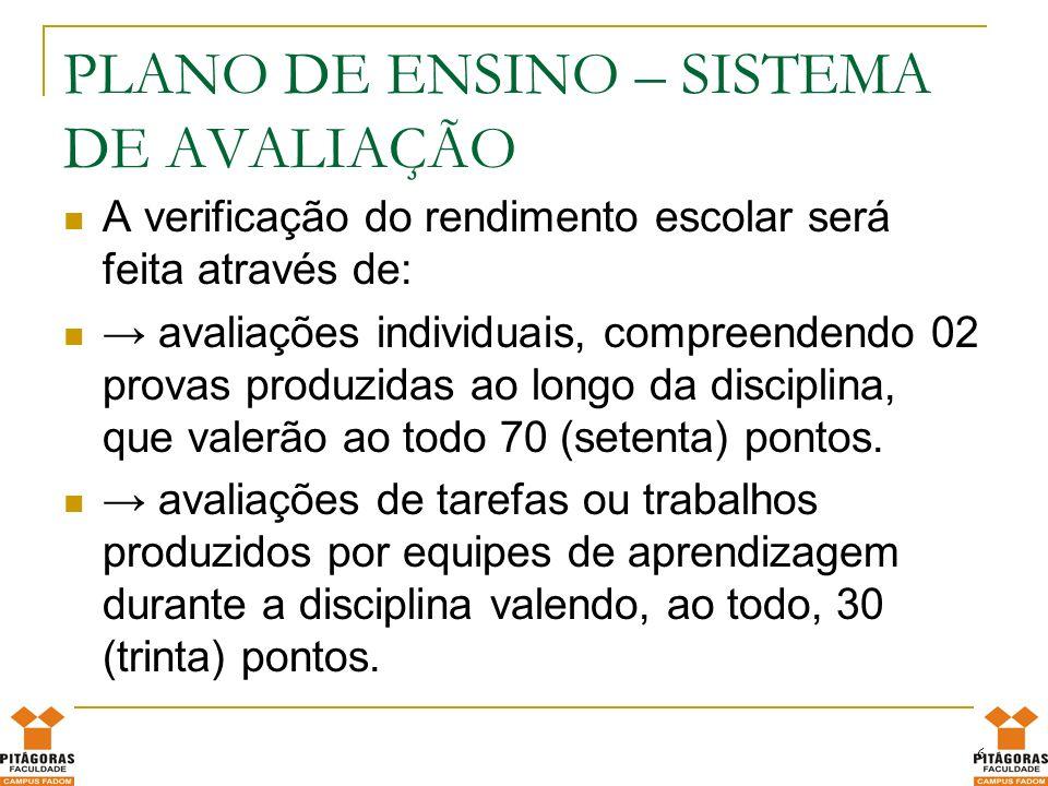 DISTRIBUIÇÃO DE PONTOS Distribuição de pontos entre as avaliações individuais e as avaliações das equipes, da seguinte forma: Valor: 10 pontos - PESO: 1,5 - Trabalho em grupo Valor: 10 pontos - PESO: 3,5 - Prova individual ATÉ 28-09-2012 Valor: 10 pontos - PESO: 1,5 - Trabalho em grupo Valor: 10 pontos - PESO: 3,0 - Prova individual ATÉ 07-12-12 Multidisciplinar : 5 pontos + 5 pontos extra – dia 22/11/2012.Esta avaliação é preparatória para o Enade e será aplicada em todas as turmas, independente de período letivo.