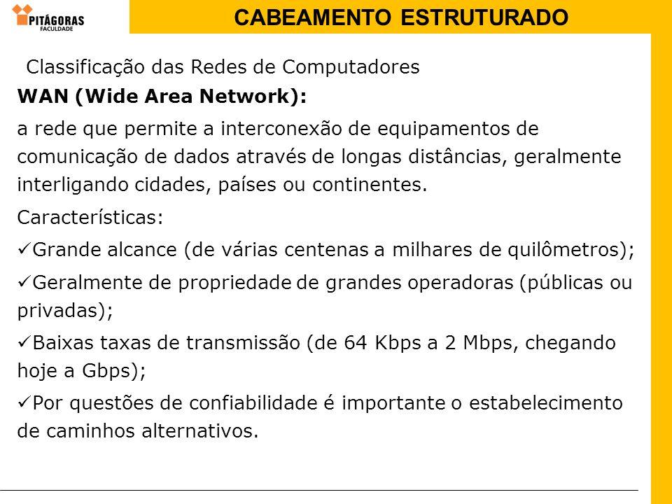 CABEAMENTO ESTRUTURADO WAN (Wide Area Network): a rede que permite a interconexão de equipamentos de comunicação de dados através de longas distâncias