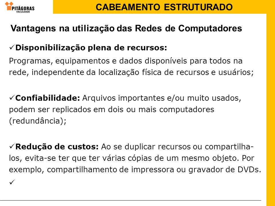 CABEAMENTO ESTRUTURADO Disponibilização plena de recursos: Programas, equipamentos e dados disponíveis para todos na rede, independente da localização