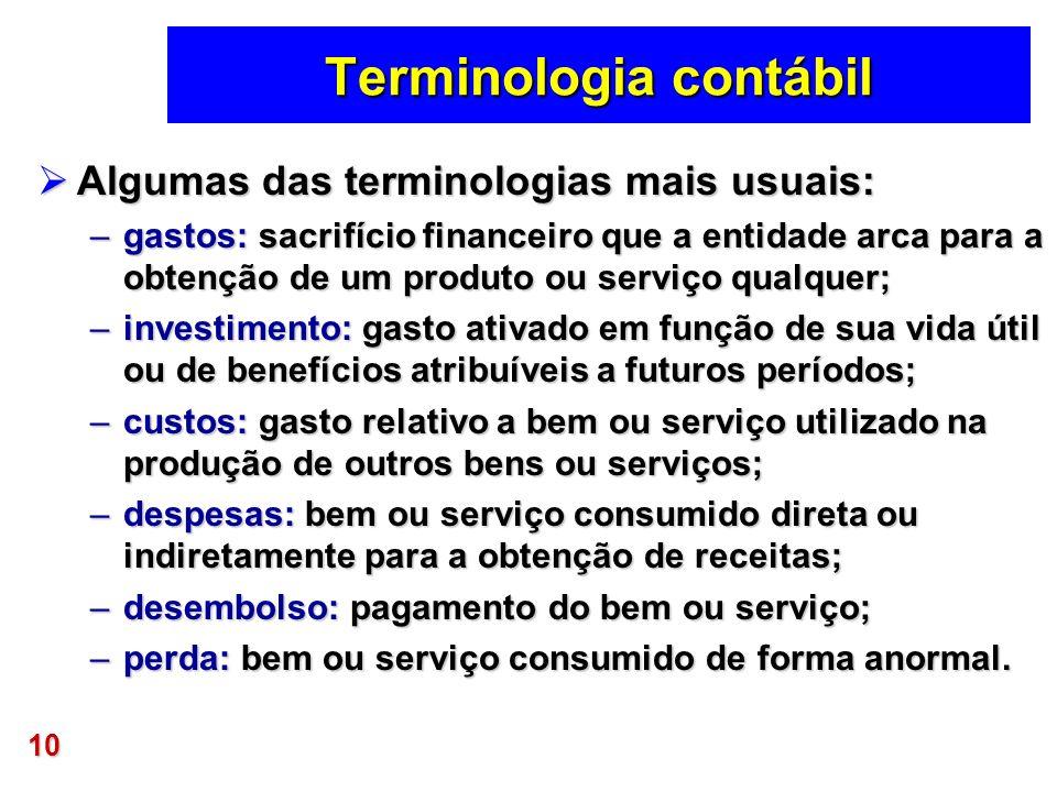 10 Terminologia contábil Algumas das terminologias mais usuais: Algumas das terminologias mais usuais: –gastos: sacrifício financeiro que a entidade a