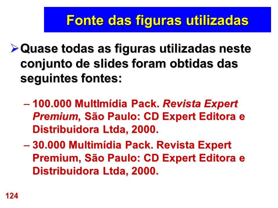 124 Fonte das figuras utilizadas Quase todas as figuras utilizadas neste conjunto de slides foram obtidas das seguintes fontes: Quase todas as figuras