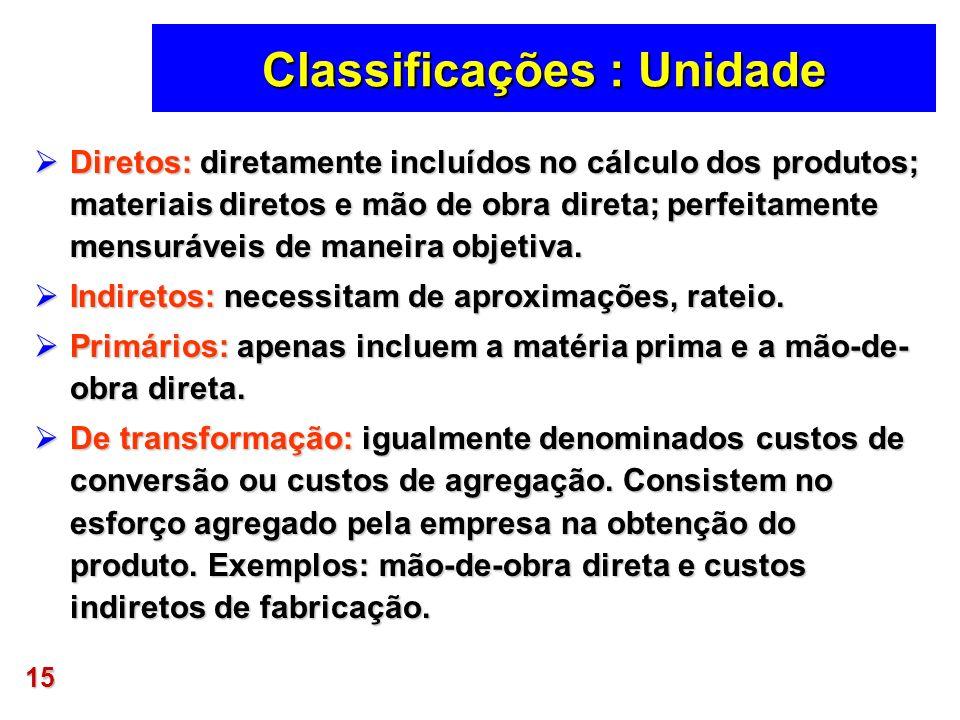 15 Classificações : Unidade Diretos: diretamente incluídos no cálculo dos produtos; materiais diretos e mão de obra direta; perfeitamente mensuráveis