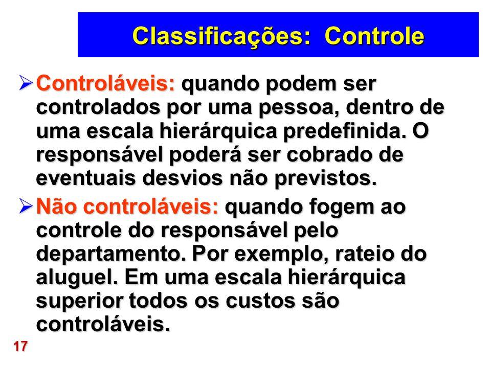 17 Classificações: Controle Controláveis: quando podem ser controlados por uma pessoa, dentro de uma escala hierárquica predefinida. O responsável pod