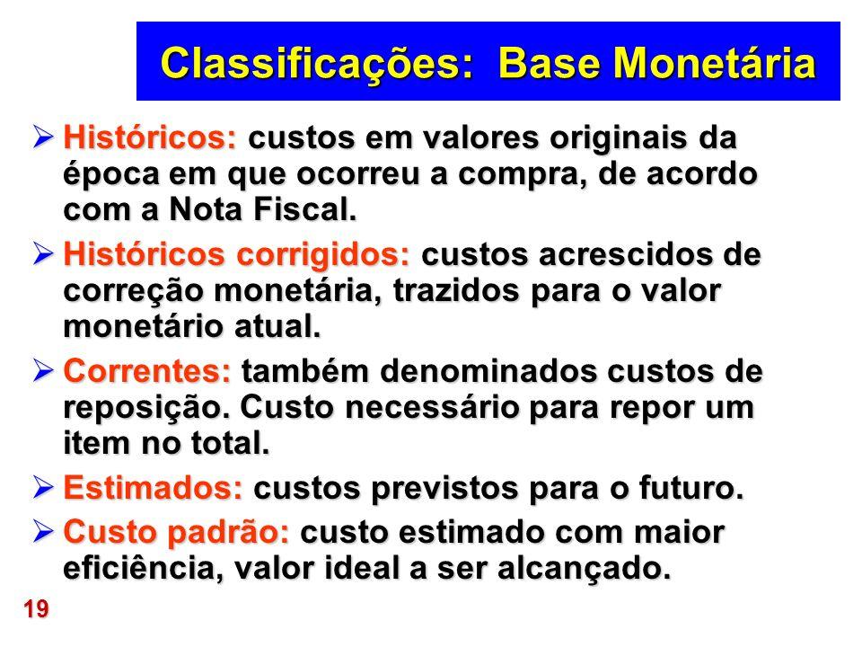 19 Classificações: Base Monetária Históricos: custos em valores originais da época em que ocorreu a compra, de acordo com a Nota Fiscal. Históricos: c