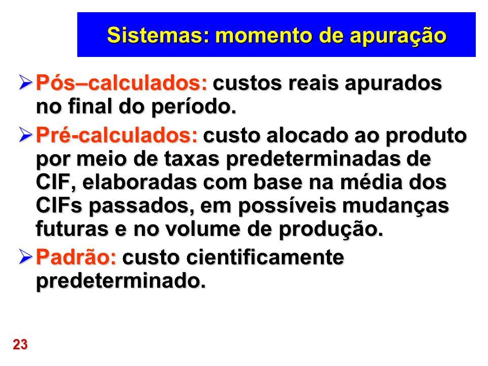 23 Sistemas: momento de apuração Pós–calculados: custos reais apurados no final do período. Pós–calculados: custos reais apurados no final do período.